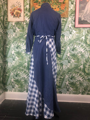 1970s Raymodes NY Cotton Plaid and Polka Dot Maxi Size 10/12