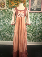 Cotton Hippie Maxi Dress with Hand Embroidery Size Small
