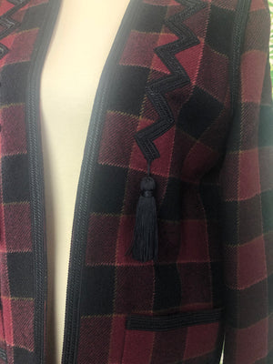 YVES SAINT LAURENT Fine Wool Checkered Plaid Blazer with Tassels Size 40/10