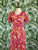 1970s Handmade Floral Full Length Dress Size Small/Size 6.