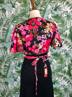 1970s Black and Floral Open Back Maxi Dress with Matching Floral Crop Size Small