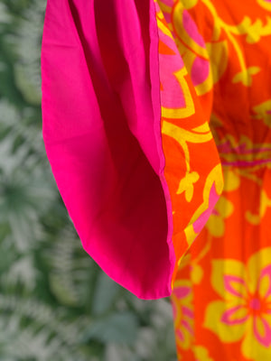 1970s Handmade Bright Cotton Floral Maxi