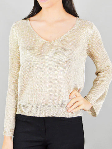 Ciao Milano Metallic V-Neck Top
