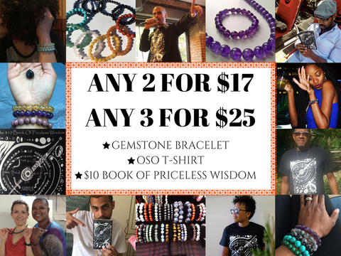 $17 PICK TWO DEAL *** $10 Book of Priceless Wisdom, Gemstone Bracelet, and T-Shirt *** $17 PICK TWO DEAL