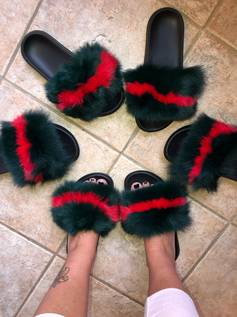 GG fox fur puff inspired slides