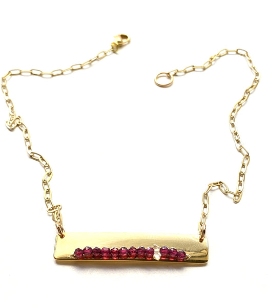 Gold Bar Necklace- Garnet