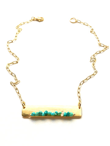 Gold Bar Necklace- Turquoise