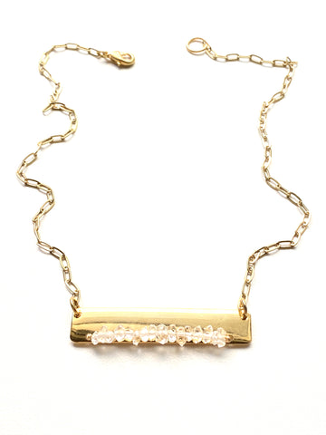 Gold Bar Necklace- Herkimer Diamond