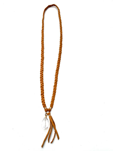 Braided Leather Necklace- Quartz