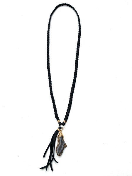Braided Leather Necklace- Agate