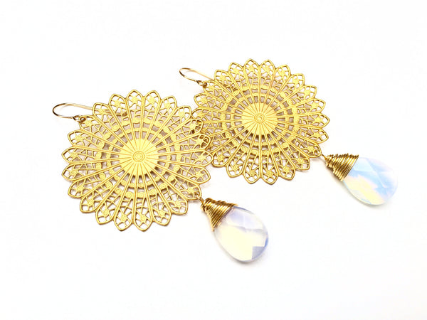 Opalite Disk Earrings