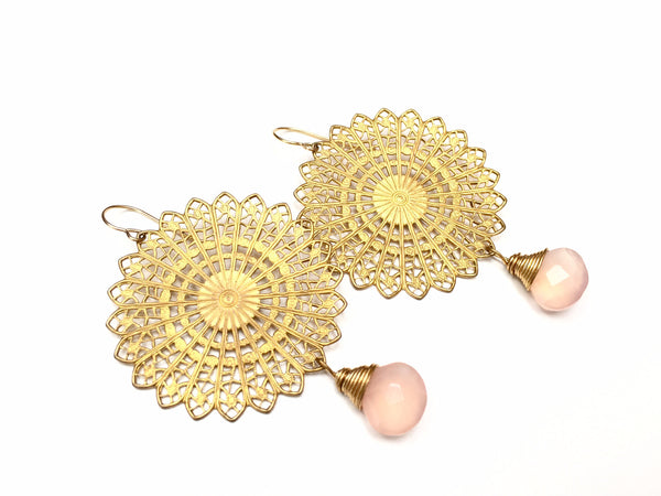 Rose Disk Earrings