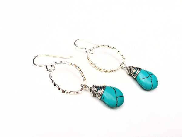 Turquoise Drop Earrings -  Silver