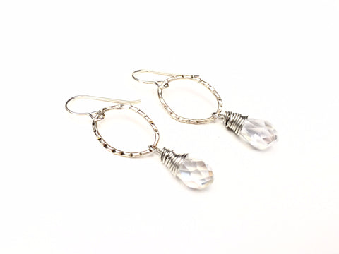 Quartz Drop Earrings -  Silver