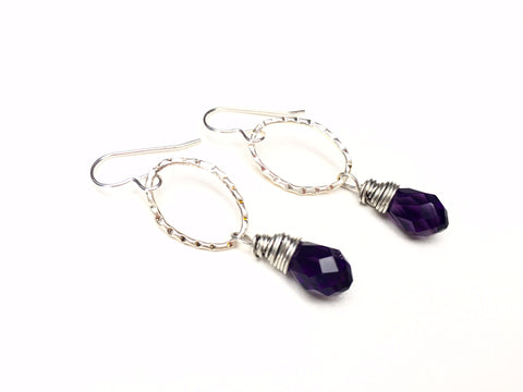 Violet Drop Earrings -  Silver