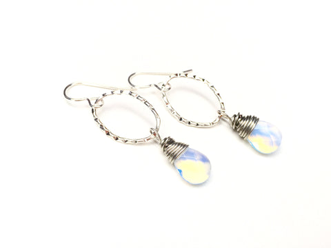 Opalite Drop Earrings -  Silver