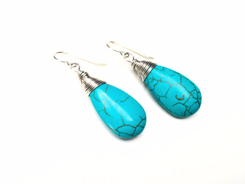 Turquoise Earrings -  Silver