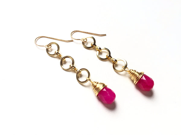 Magenta Strand Earrings