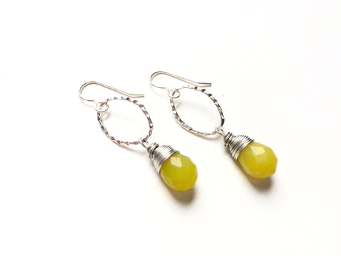 Jade Drop Earrings -  Silver