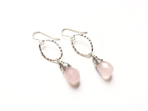 White Zin Drop Earrings -  Silver