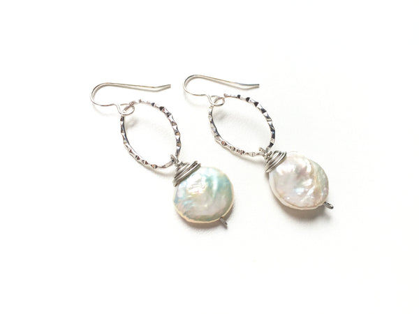 Pearl Drop Earrings -  Silver
