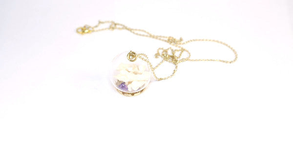 We're All Animals Glass Globe Necklace-Polished Amethyst