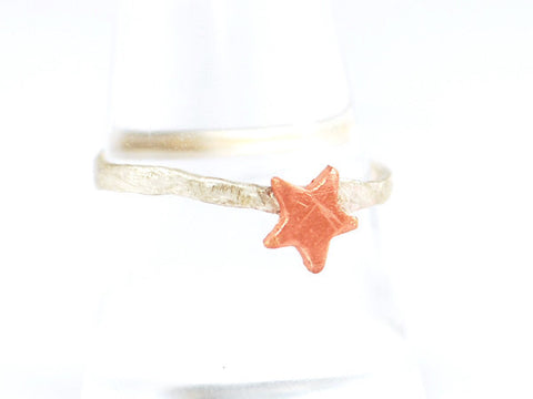 Copper Star & Hammered Sterling Silver Ring