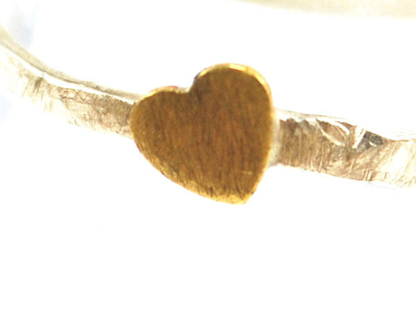 Crooked Tiny Brass Heart & Hammered Sterling Silver Ring