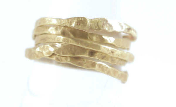 Hammered Brass Stackable Rings Set (5)