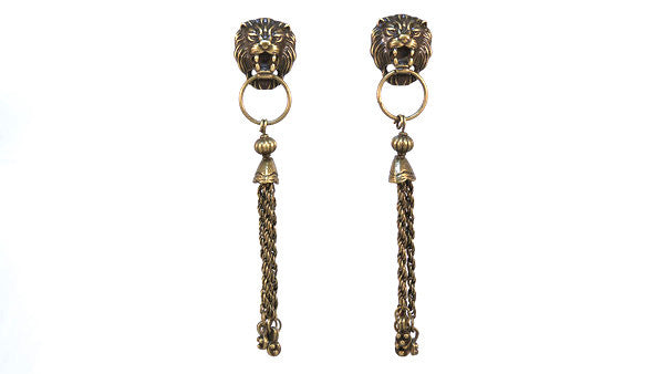 Lion Doorknocker Tassel Earrings
