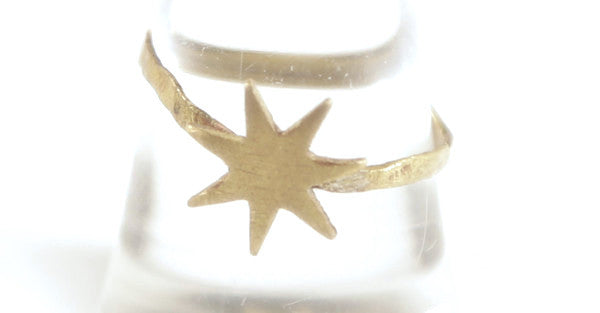 Brass Hammered Sunburst Ring