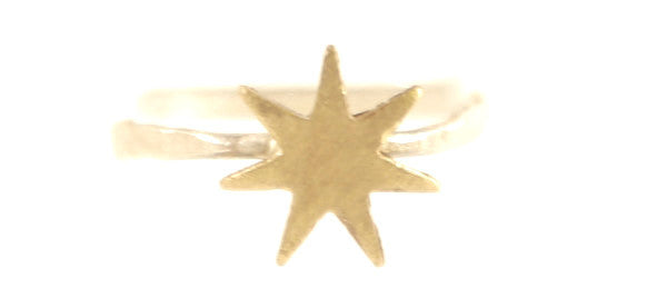 Silver & Brass Mixed Metal Stackable Sunburst Ring