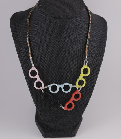 Buddy Holly Rainbow & Leather Necklace