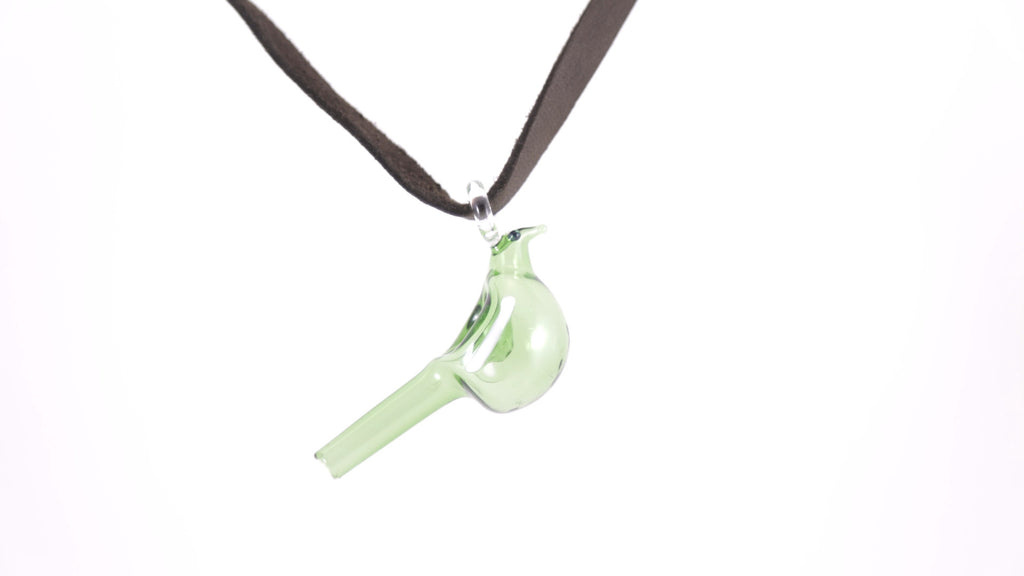 Fly High Glass Bird Necklace-Green
