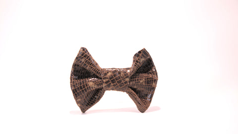 Mariana Leather Bow Hair Clip-Brown Snakeskin