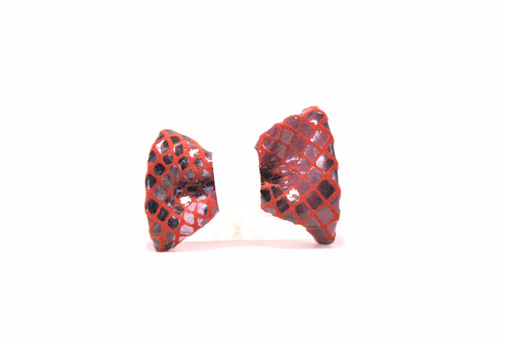 Mariana Leather Bow Hair Clip-Red/White