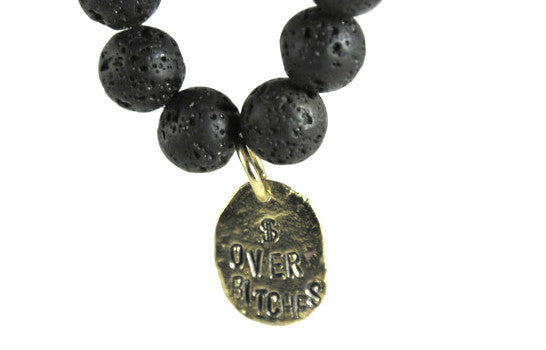 """$ Over Bitches"" Lava Bracelet"