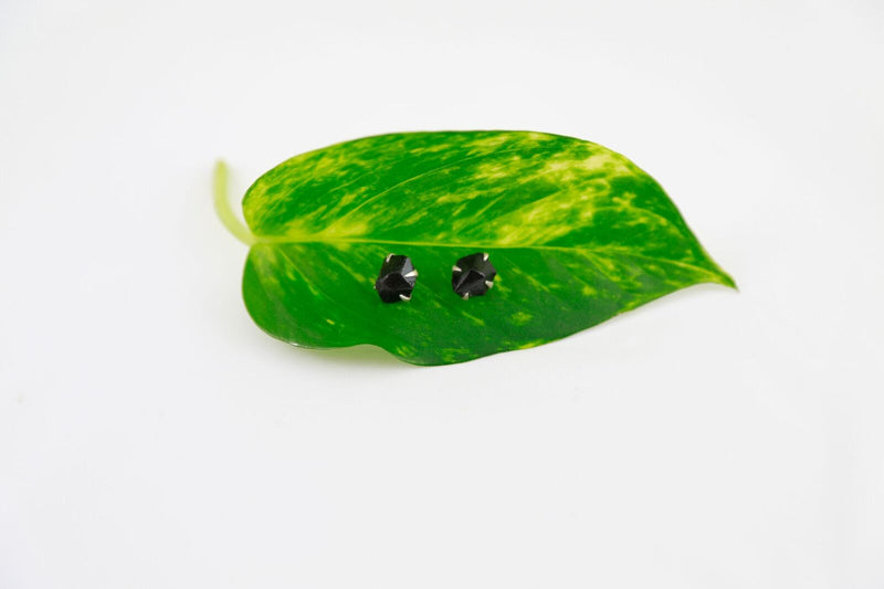 Black Magic Agate & Silver Stud Earrings