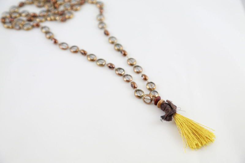 Long Shamanic Necklace w. Glass Stones