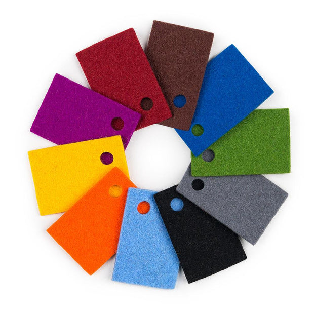 100% Wool Designer Felt Sample Bag - 2mm Thick, Solid Tones, 10 Colors