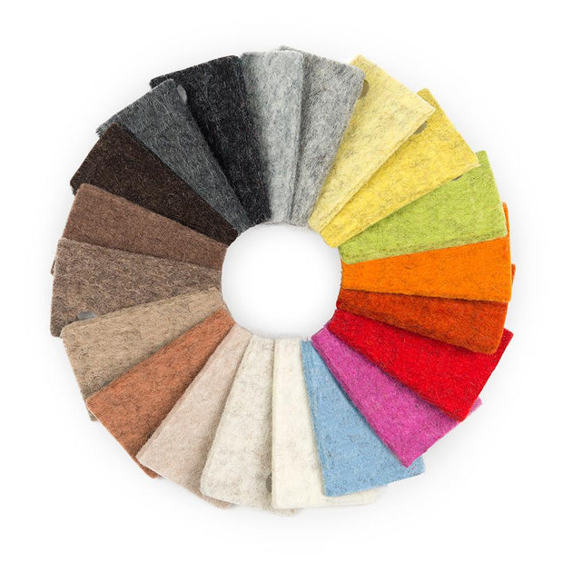 100% Wool Designer Felt Sample Bag - 3mm Thick, Earth Tones, 20 Colors