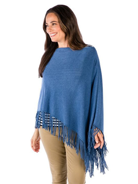 Alashan Cashmere - Cotton Cashmere Trade Wind Fringe Topper - Aquarium