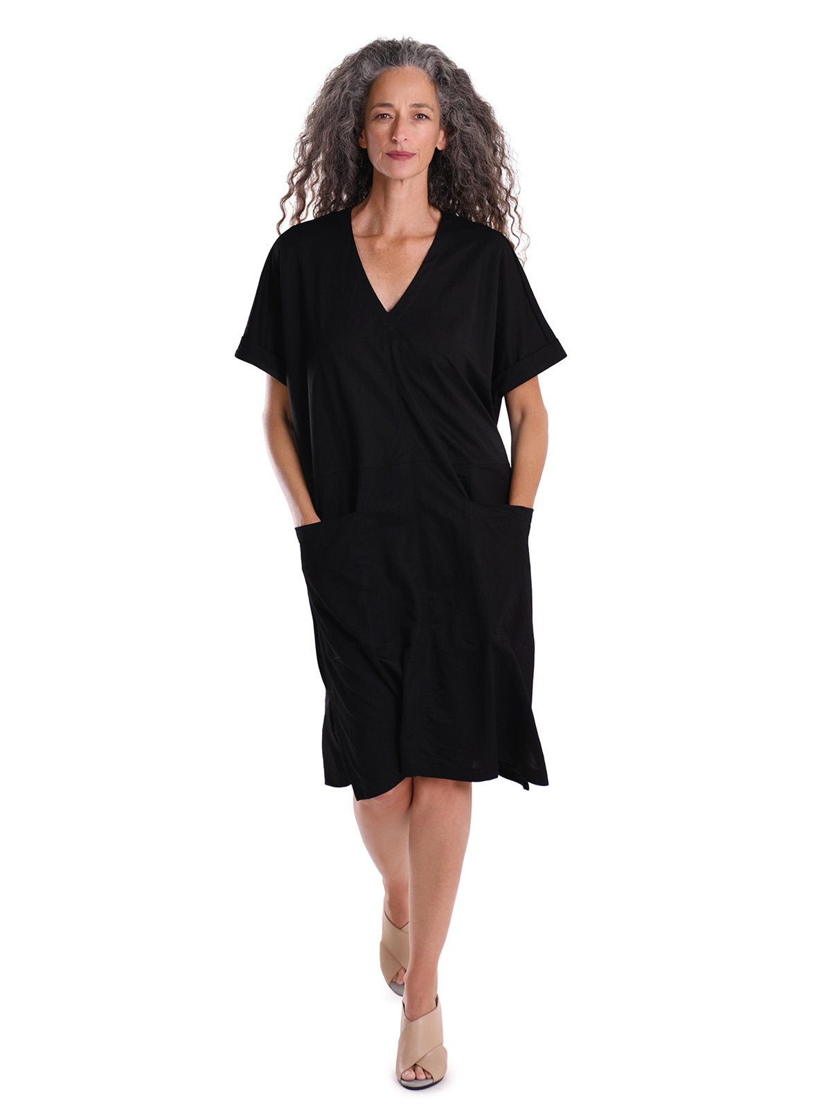 Alembika - V Neck Pocket Front Dress - Black