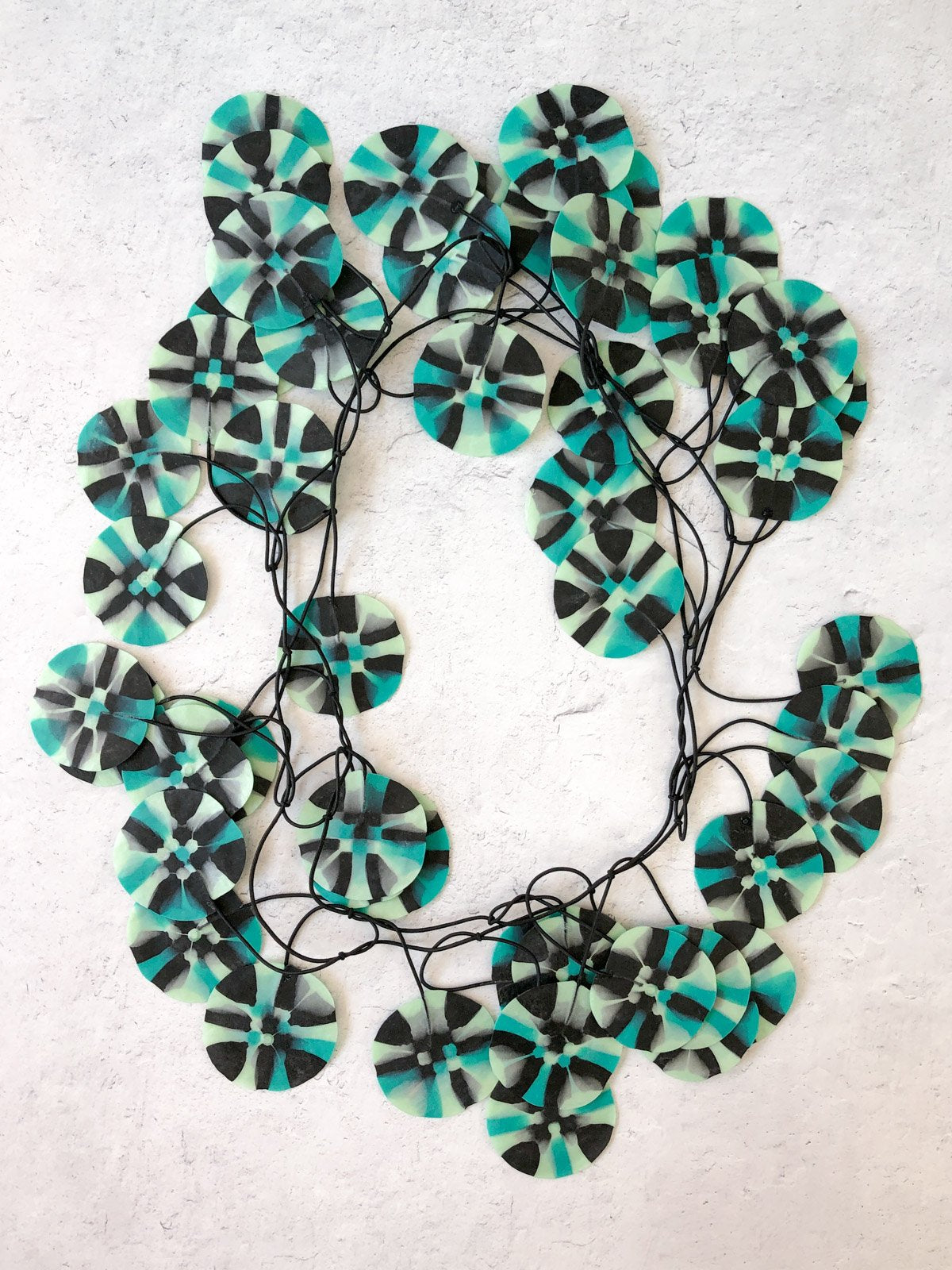 Ekeimenna By Annemieke Broenink - Huge Recycled Pansy Necklace - Aqua Green