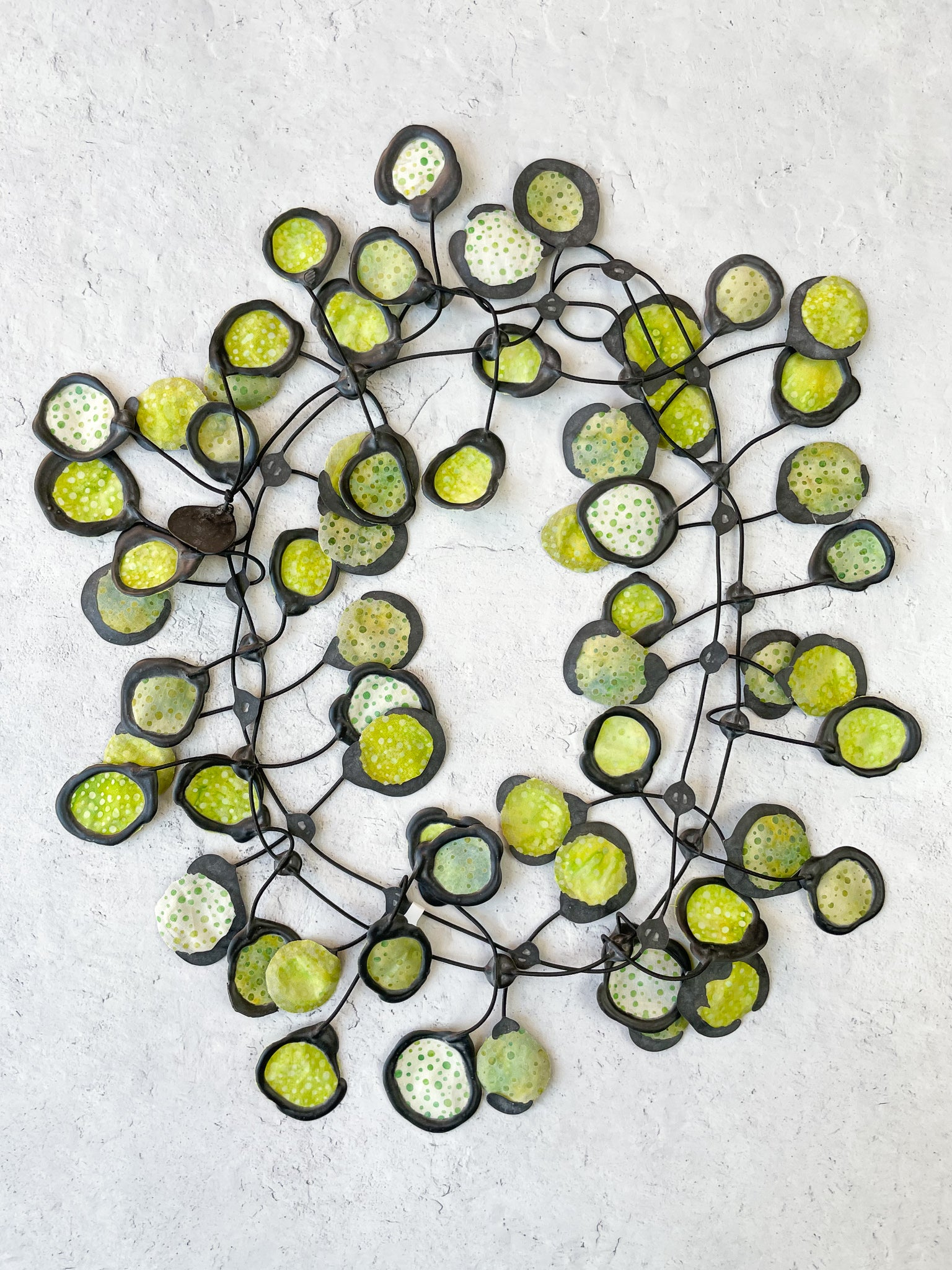 Annemieke Broenink Batik Poppy Necklace, Avocado