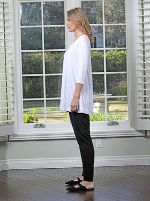 Chalet et ceci Crinkle 3/4 Sleeve Tunic, White