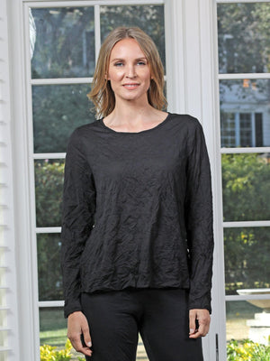 Chalet et ceci Crinkle Mesh Long Sleeve Basic Top, Black