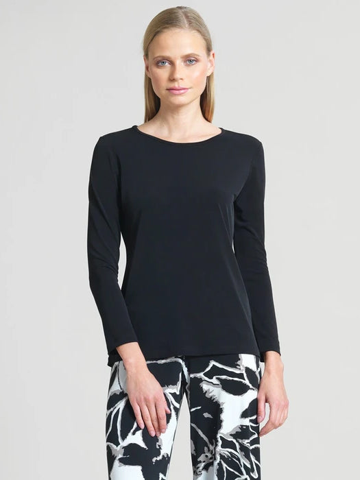 Basic Long Sleeve Round Neck Top, Black
