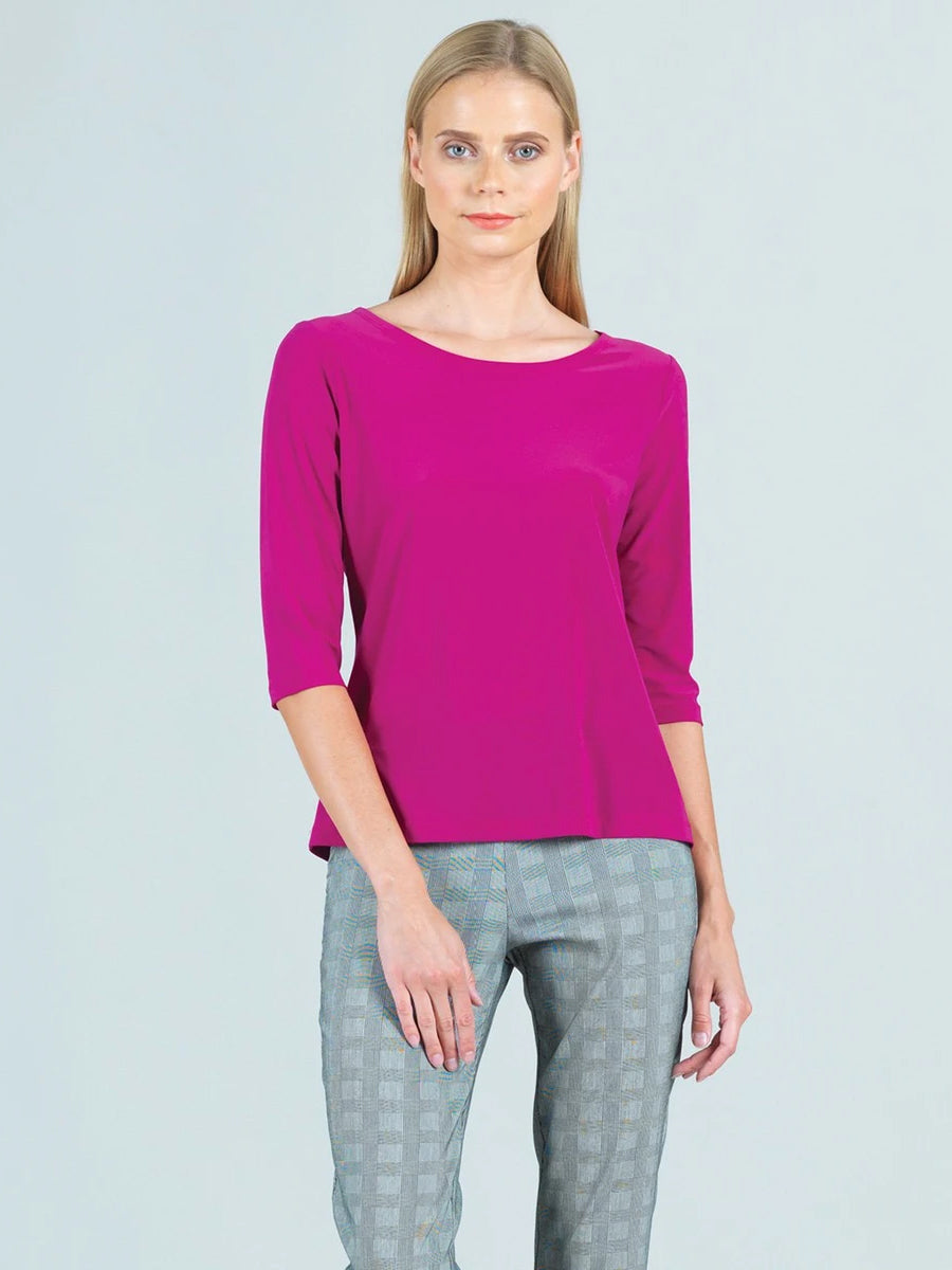 Clara Sunwoo Basic Round Neck Half Sleeve Top, Magenta - Statement Boutique