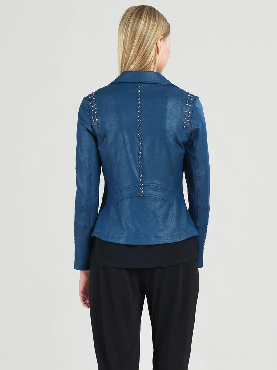 Clara Sunwoo Studded Liquid Leather Jacket, Navy
